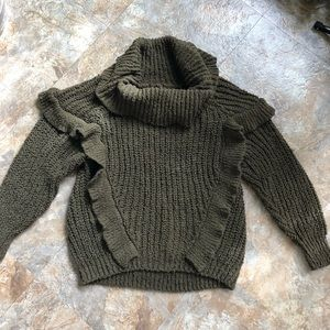 EXPESS Forest Green Ruffle Sweater